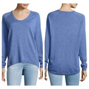 Lord & Taylor Blue Extra Fine Merino Wool Pullover